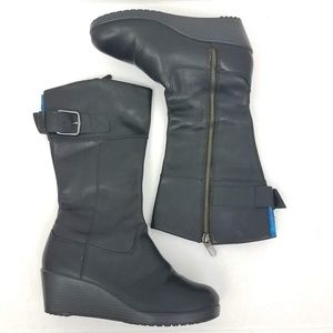 Crocs   Black Leather A-Leigh Boots